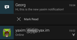 New yaxim notification